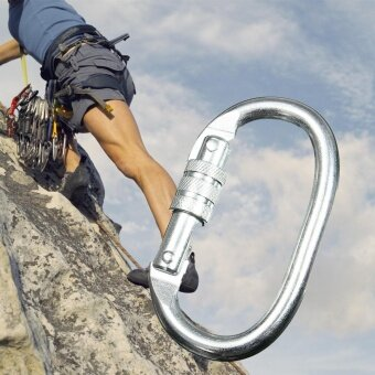 25KN Carbon Steel Rock Climbing Rappelling Escape Screw Locking Clip Carabiner - intl