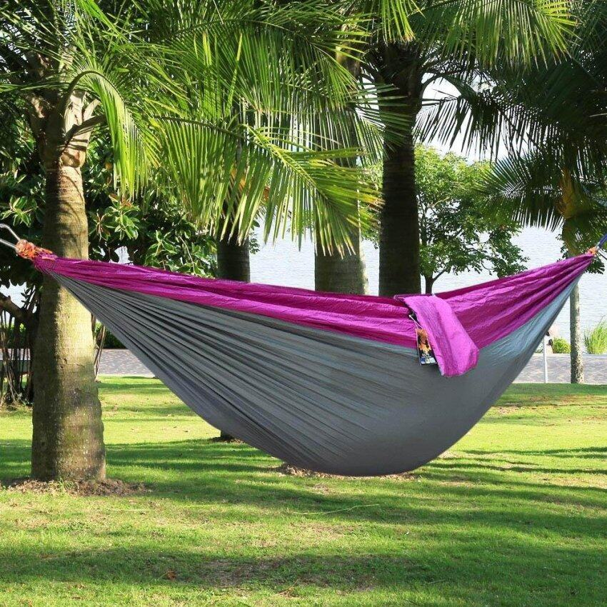 A Person Assorted Color Parachute Nylon Fabric Hammock With Strong Rope(Color:PURPLE AND GREY) - intl