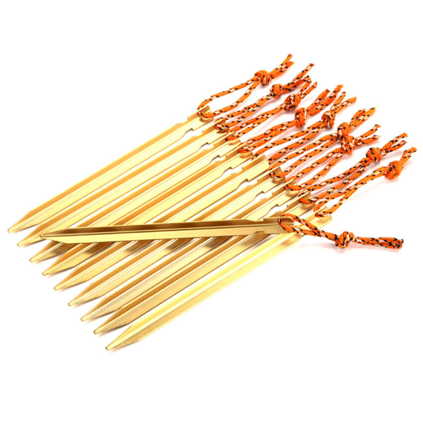 Allwin 10Pcs 18cm Aluminum Alloy Outdoor Camping Trip Tent Peg Ground Nail Stakes Gold