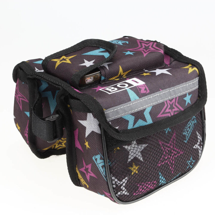 BOI Cycling Bike Bicycle Front Top Tube Frame Pannier Double Bag Pouch