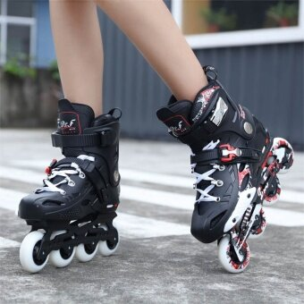 Both men and women single adult rollerblading - intl