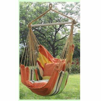 Comfort Hanging Hammock Chair Outdoor Garden Rope Swing Chair SeatHammock Bench Patio Camping (Orange) - intl
