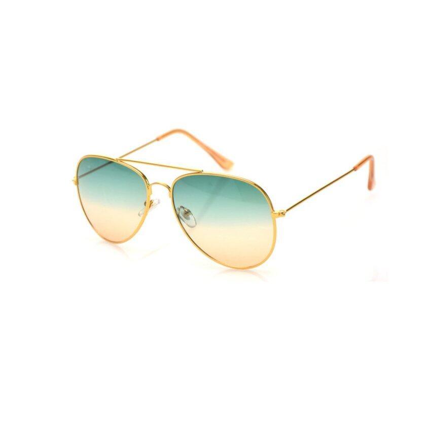 Elenxs Hot Unisex Color Gradient Retro Sunglasses(Green&Orange)