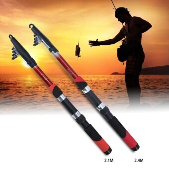 Fiber Telescopic Fishing Pole Portable Multi Sizes Casting SeaFishing Rod Pro (2.1M) - intl