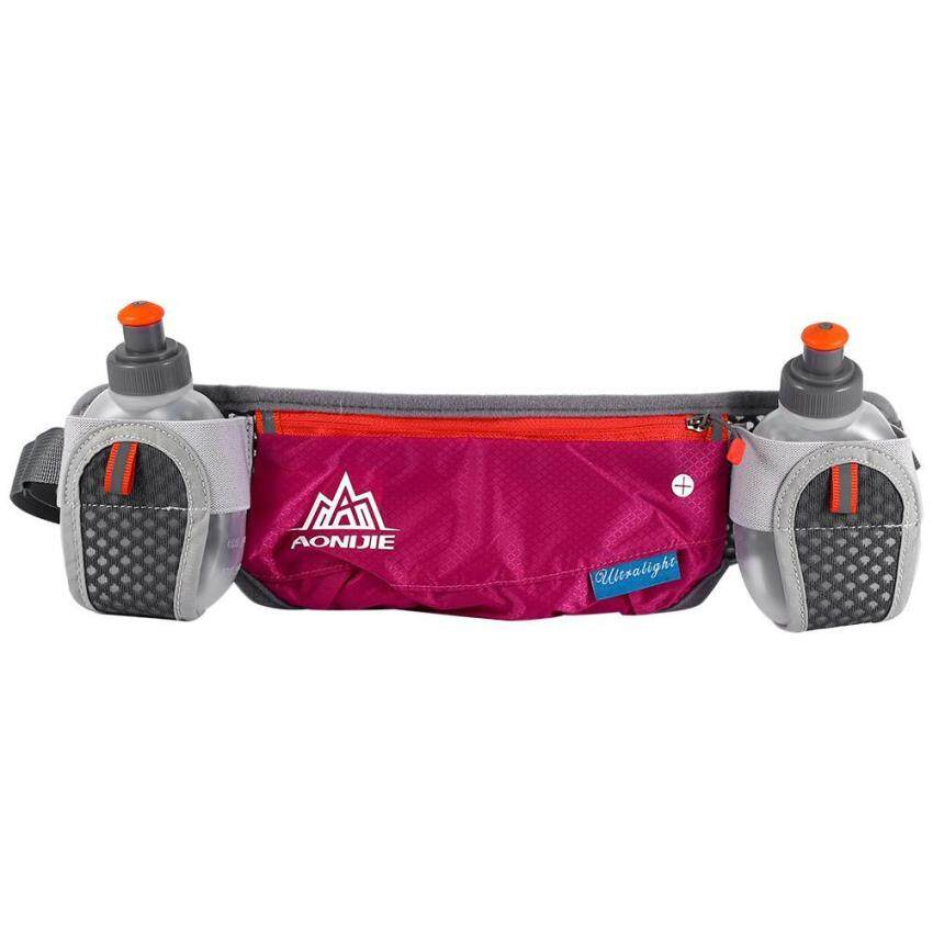 Hot Sport Running Cycling Waist Pack Belt Bag With Storage Pockets & Water Bottle (Rose Red) - intl