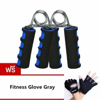 JJ อุปกรณ์บริหารมือและนิ้วมือ แฮนด์กริ๊ป x 2 แถมฟรี YUEYAN ถุงมือฟิตเนส ถุงมือออกกำลังกาย Fitness Glove Weight Lifting Gloves Gray( Int:M)