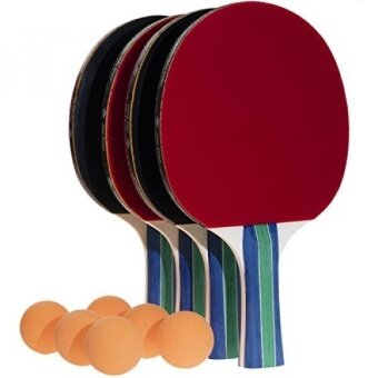 JNW Direct Table Tennis Set 4 Professional Paddles  6 Ping Pong Balls Portable Case Included Flared Racket Handles for Improved Grip - intl