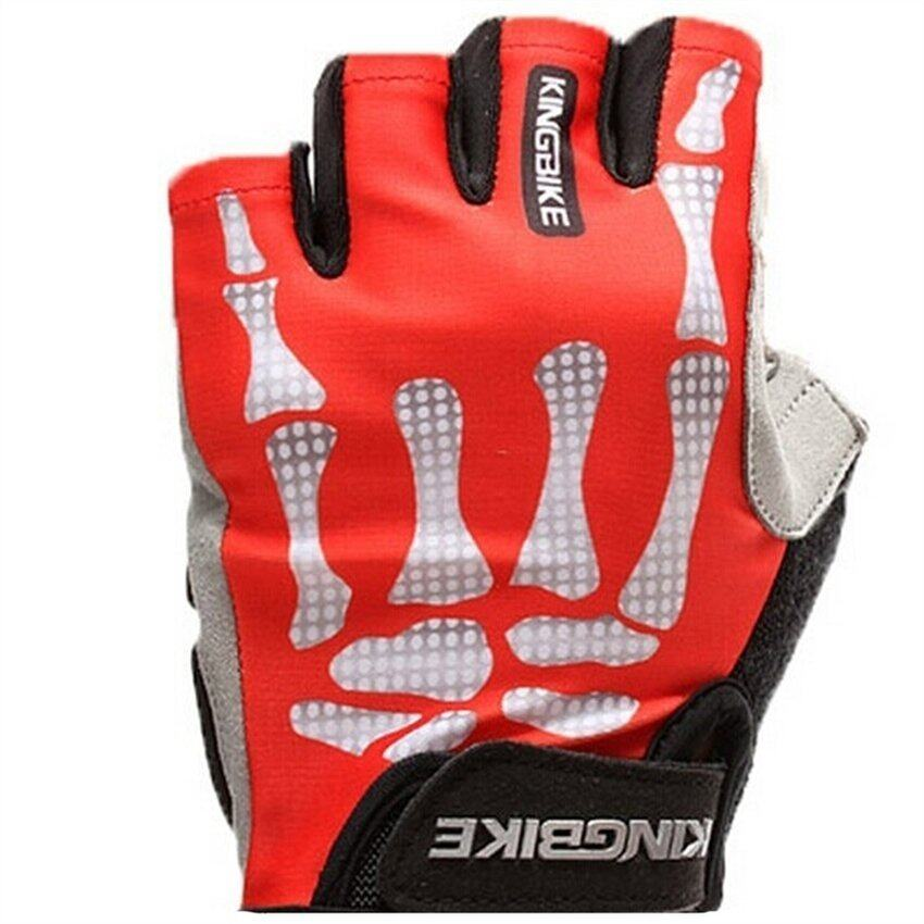 JOR Outdoor Weather Gloves for Riding, Half-Finger Gloves for Riding Bike Red