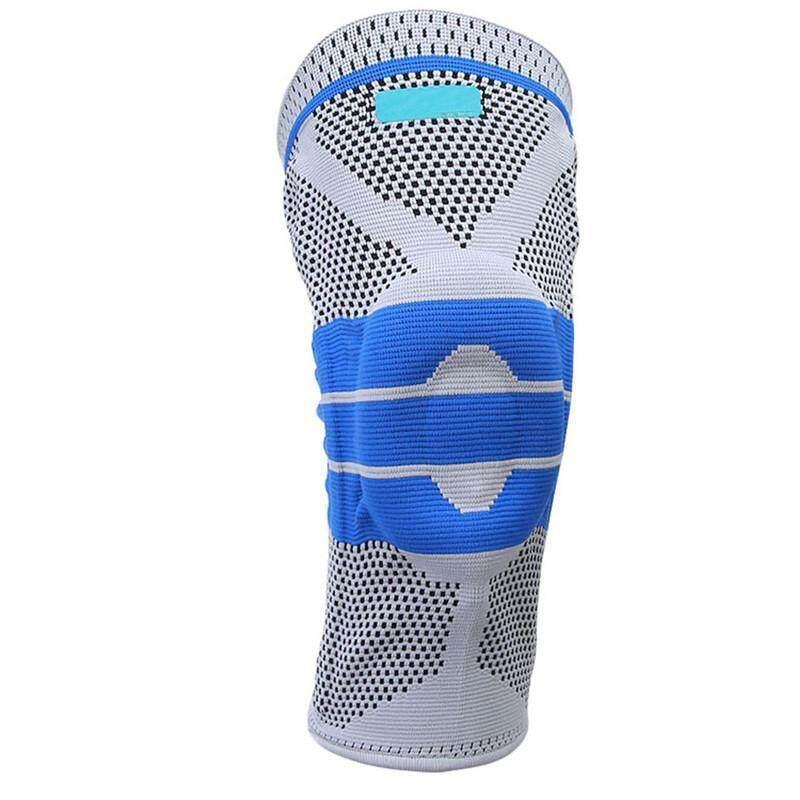 LALANG Nylon Elastic Sport Knee Pad Basketball Running Fitness Knee Support Brace M (Grey+Blue)