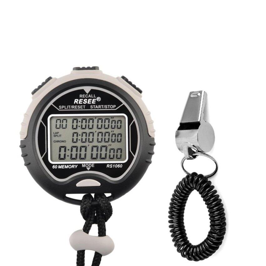 LT365 Multi-function Waterproof Electronic Digital Chronograph Time Stopwatch Timer with Whistle - intl