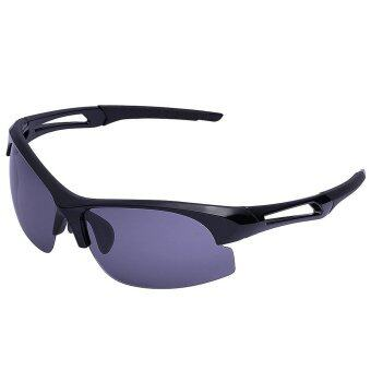 Polarized Sports Sunglasses for Running Cycling Fishing Golf Tr90 Unbreakable Frame (Black Frame Grey Lens)