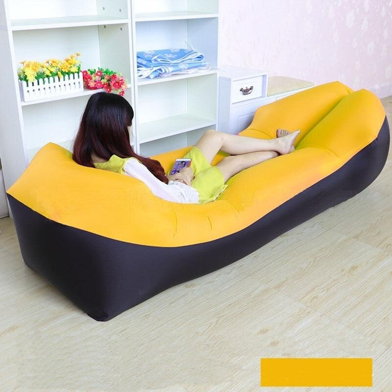 with pillows lazy inflatable sofa portable outdoor air sofa beach bed fight color holiday sleeping Tear resistant air mattresses bed wholesale - intl