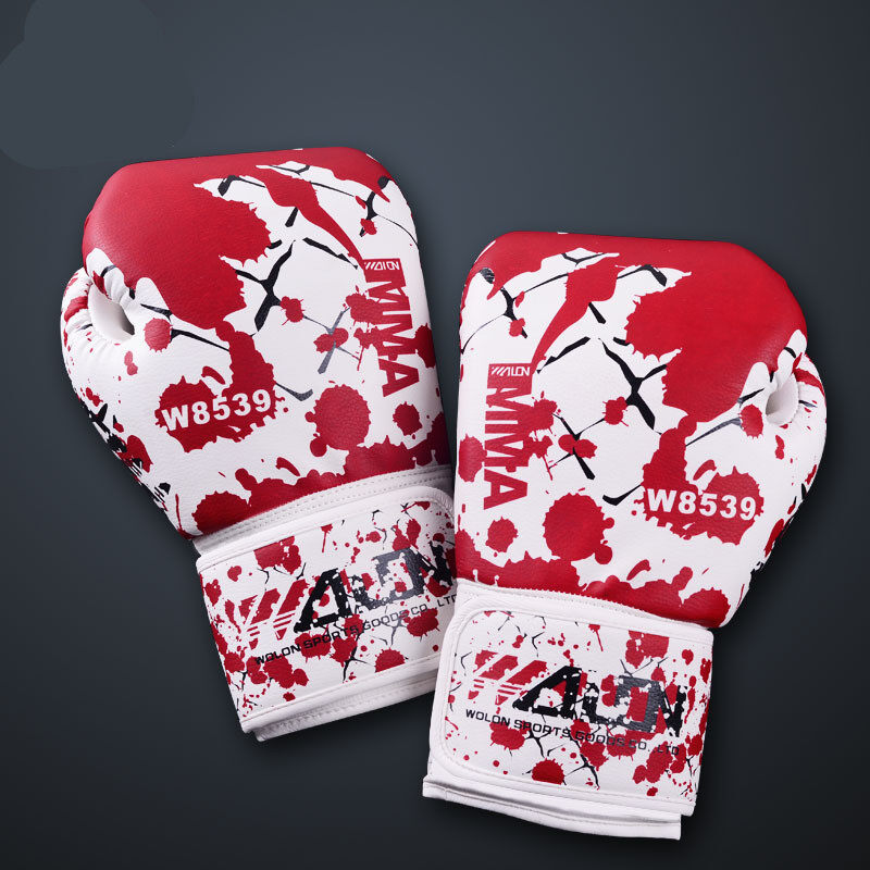 wuxiang Race Professional Boxing Gloves (White and Red)