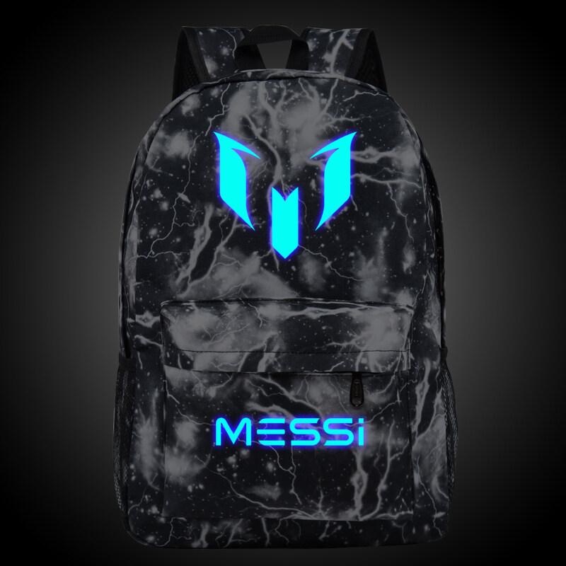 ขาย 18.5inch Lattice Grid Barca Backpack Lionel Messi Glow Backpack Luminous Printing Backpack Star School Bags for Teenagers - intl
