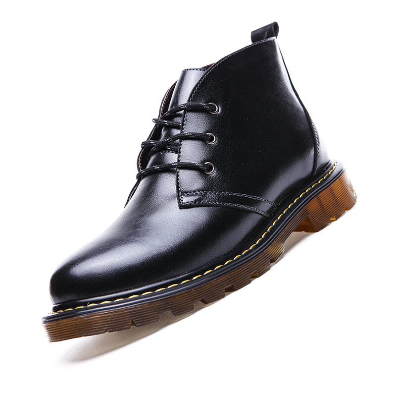 2016 New Fashion Men Genuine Leather Shoes Work Martin Boots Men Winter Casual Ankle Lac ...