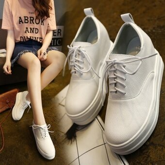 2016 Spring And Autumn New Music Blessing Shoes In The Summer To Increase Womens Shoes At The End Of Small White Shoes Leisure Slope With Shoes(Black) - intl