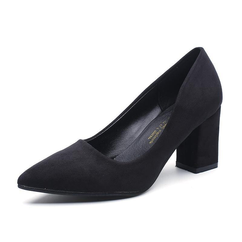 2017 Office Lady Fashion Pumps Women Elegant Thick Heel Comfortable Shoes(black) - intl ...