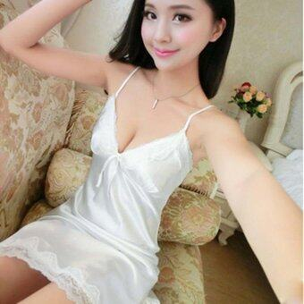 2017 Spring Summer Autumn Women Silk Nightdress Sleeveless SexyLingerie Nightgowns For Women Girls(White) - intl
