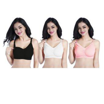 3 Pack Breastfeeding Bra Pregnant Underwear Nursing Bra(Black Beige Pink) - intl