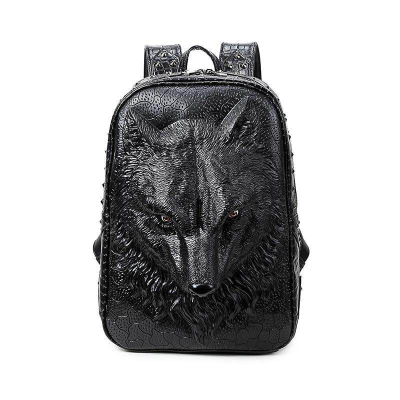 3D wolf head backpack special cool shoulder bags stylish backpacks for teenage girls PU leather laptop school bags - intl