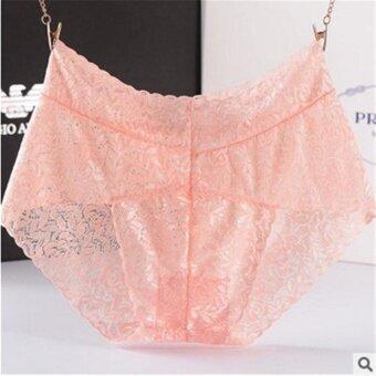 3pieces/Box Lace Comfortable Hollow Transparent pure cotton Solid color Women Panties(One size) - intl