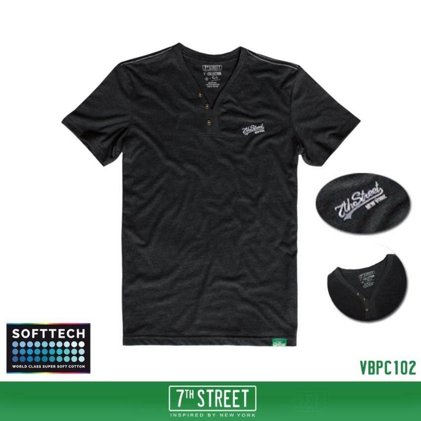 7th Street Graphic T-Shirt เสื้อยืดแขนสั้นแนวสตรีท รุ่น คอวีมีกระดุม Original Softtech ส ...