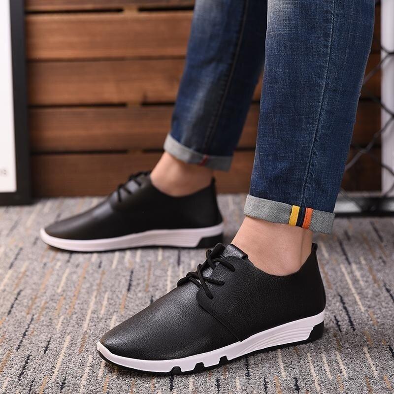 ขายถูก 9doo Men's lace Slip-Ons & Loafers fashion casual shoes(Black)
