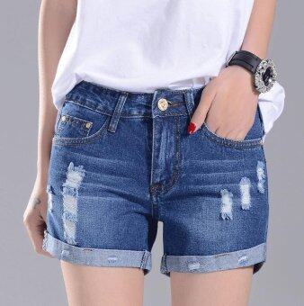 A piatter Korean women were thin denim shorts Dark blue - intl