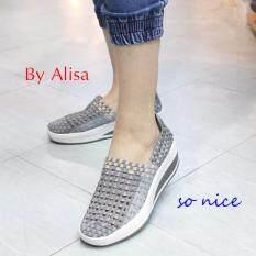 Alisa Shoes รองเท้าผ้าใบแฟชั่นComfortเพื่อสุขภาพ รุ่น F791 Grey(EU:36)