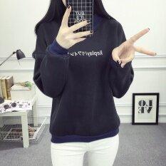 Autumn Korean Style Women Long Sleeved Cashmere Sweater Loose Thickening Hoodie Black - Intl ราคา 809 บาท(-23%)