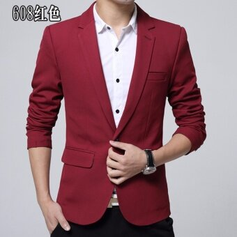 Autumn mens small suit jacket casual suit male Korean version of Slim collar tunic young mens jacket- Red - intl