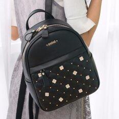 AXIXI กระเป๋าเป้แฟชั่น รุ่น White Floral Backpack สีดำ