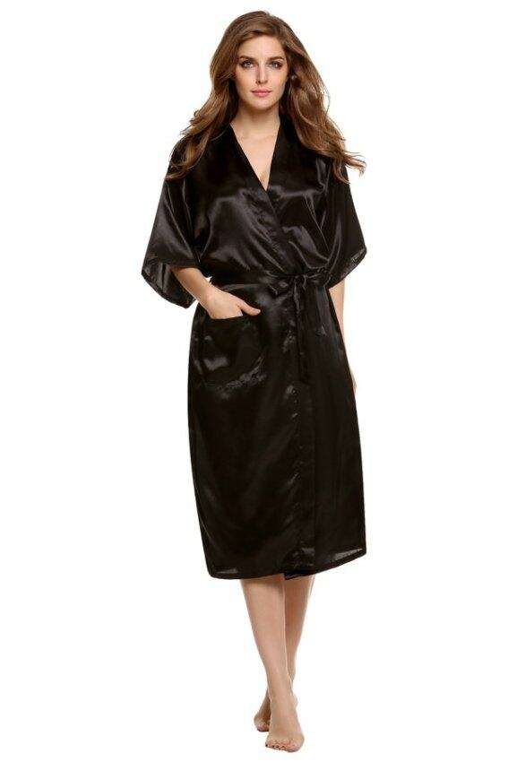 Azone Woman Silk Strappy Sleepwear Long Bath Robes Night Gown Pajamas (Black)