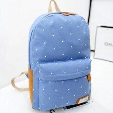 Bag Fashion กระเป๋าเป้ สะพายหลังผู้หญิง แนวอินดี้ รุ่น15 (สีฟ้า)