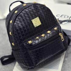 Bag Fashion กระเป๋าสะพายหลัง กระเป๋าแฟชั่นสตรี ลายหนังจระเข้ รุ่น035 (สีดำ)