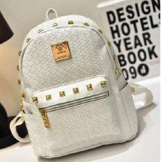 Bag Fashion กระเป๋าสะพายหลัง กระเป๋าแฟชั่นสตรี ลายหนังจระเข้ รุ่น035 (สีขาว)