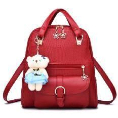 Bag Fashion กระเป๋าสะพายหลังแฟชั่น พร้อมหูหิ้ว รุ่น027 (สีแดง)