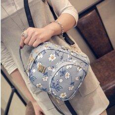 BB กระเป๋าเป้ กระเป๋าสะพายหลัง ลายดอกไม้ (สีฟ้า)รุ่น 1005