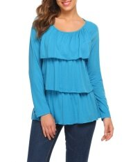 Big Discount Women Long Sleeve Layered Ruffles Solid Casual Loose Fit T-Shirt Top (peacock Blue) - Intl ราคา 433 บาท(-58%)