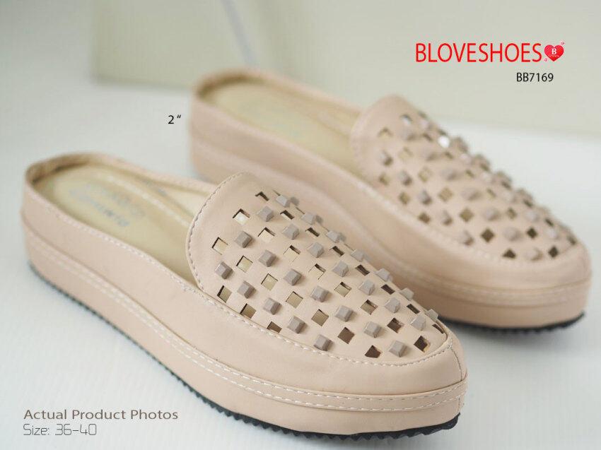 BLOVESHOES รองเท้าลำลองส้นมัฟฟินแบบเปิดส้น Muffin Mules Style BB7169 สีแอพพลิคอต (Aprico ...