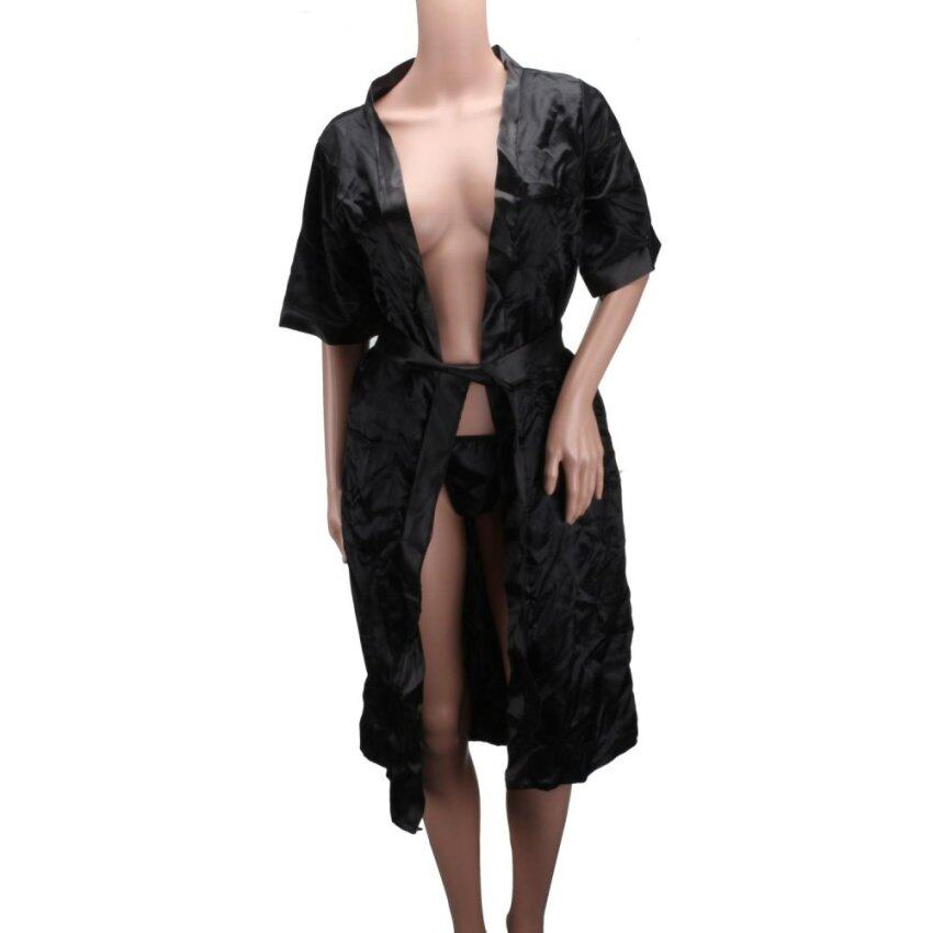 BU Black New Merssavo Sexy Women Long Silk Kimono Dressing Gown Bath Robe Babydoll Lingerie Nightdress Black - intl ...