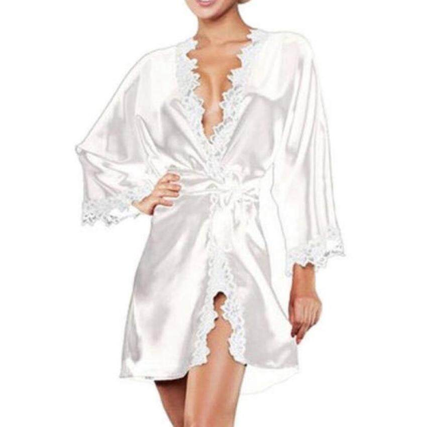 C1S Sexy Short Lingerie Robe Half Sleeve Lace Patchwork Sleepwear Nightwear Underwear With G-String(White) - intl