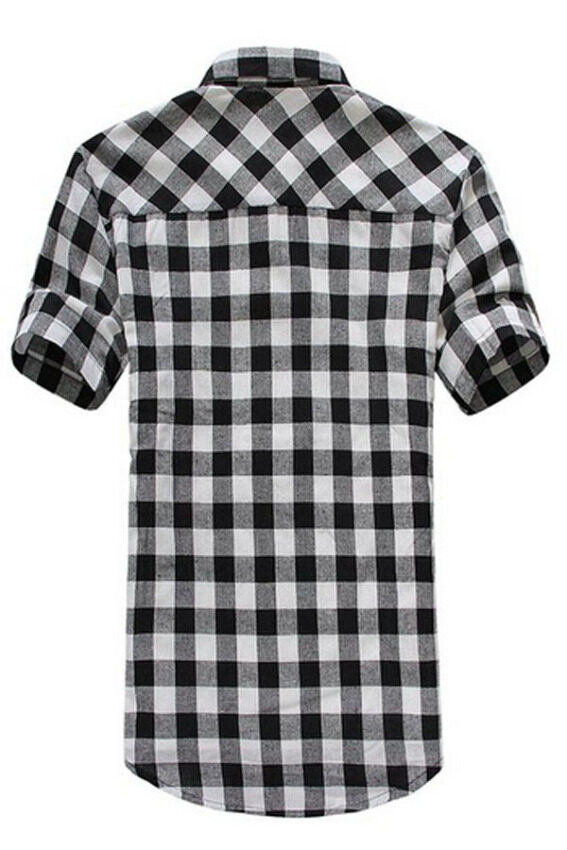 Casual Plaid Button-down Short Sleeve Shirt (Black White) ...