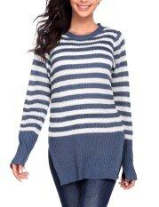Clearance Sale Women Casual Long Sleeve Crewneck Striped Slim Pullover Sweaters (cobalt Blue) - Intl ราคา 449 บาท(-37%)