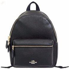 COACH กระเป๋า MINI CHARLIE BACKPACK IN PEBBLE LEATHER F38263 (IM/BLACK)
