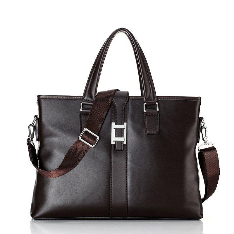 Cowhide Leather Handbag Business Men Computer Messenger Bag Cusual Tote Brand Design Briefcase (Brown) - Intl