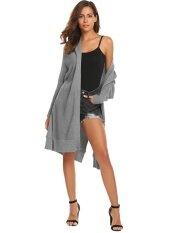 Cyber Clearance Sale Women Casual Long Sleeve Open Front Side Slit Knitted Long Cardigan Sweater (grey) - Intl ราคา 598 บาท(-45%)