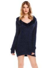 Cyber Clearance Sale Women Casual Ruffle V-Neck Long Sleeve Solid Pullover Thread Hem And Cuffs Sweater( Dark Blue ) - Intl ราคา 631 บาท(-48%)