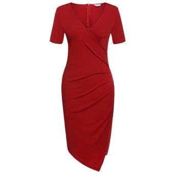 Cyber Meaneor Sexy Women V Neck Short Sleeve Bodycon Evening Party Irregular Summer Dress(red)