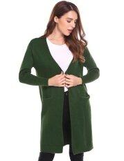 Cyber Promotion Women Casual Long Sleeve Open Front Solid Loose Fit Long Knit Coat Jacket Cardigan Sweaters( Army Green ) - Intl ราคา 556 บาท(-67%)